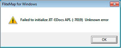 Jeppesen FliteMap error Failed to initialize JIT-EDocs API